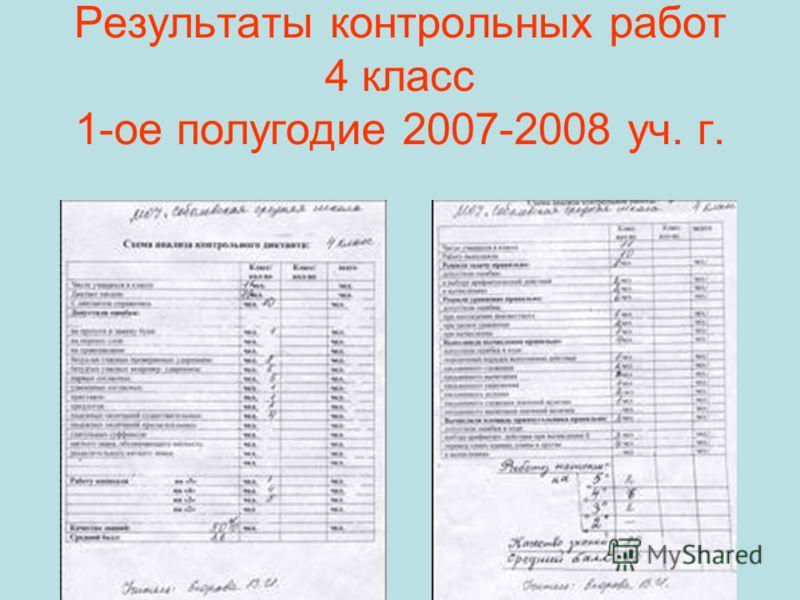 Результаты контрольных работ 4 класс 1-ое полугодие 2007-2008 уч. г.