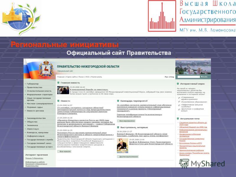 . Региональные инициативы Официальный сайт Правительства