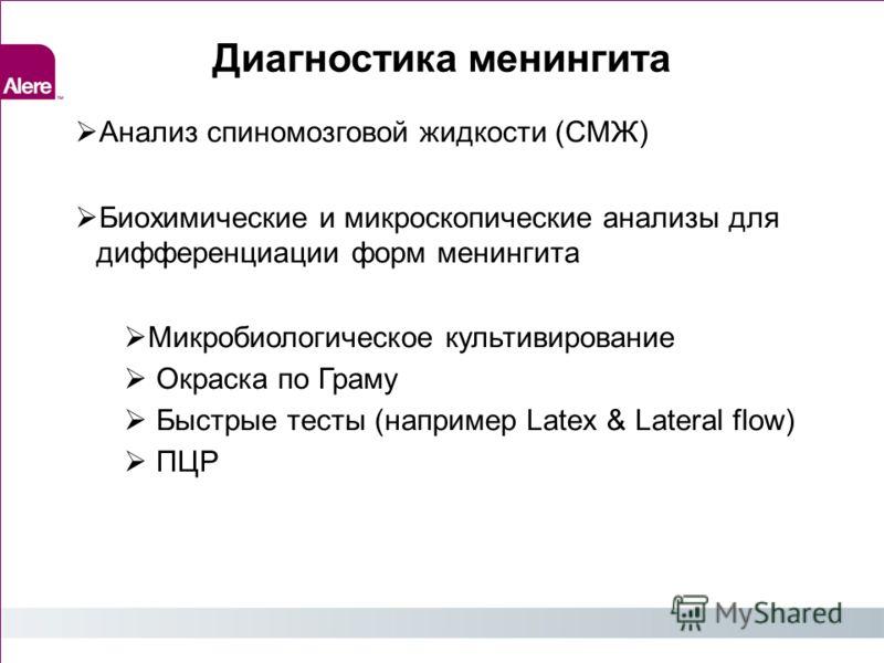 Диагностика менингита Анализ спиномозговой жидкости (СМЖ) Биохимические и микроскопические анализы для дифференциации форм менингита Микробиологическое культивирование Окраска по Граму Быстрые тесты (например Latex & Lateral flow) ПЦР