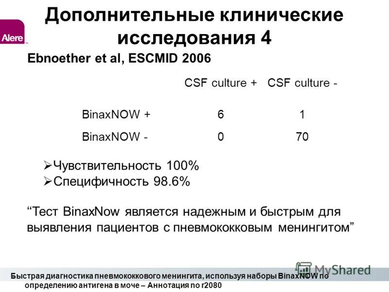 Дополнительные клинические исследования 4 Ebnoether et al, ESCMID 2006 CSF culture +CSF culture - BinaxNOW +61 BinaxNOW -070 Чувствительность 100% Специфичность 98.6% Тест BinaxNow является надежным и быстрым для выявления пациентов с пневмококковым