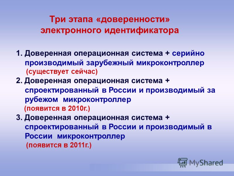1.Доверенная операционная система + серийно производимый зарубежный микроконтроллер (существует сейчас) 2. Доверенная операционная система + спроектированный в России и производимый за рубежом микроконтроллер (появится в 2010г.) 3. Доверенная операци