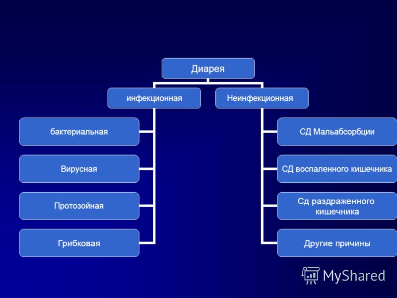 инфекционная бактериальная Вирусная Протозойная Грибковая Неинфекционная СД Мальабсорбции СД воспаленного кишечника Сд раздраженного кишечника Другие причины