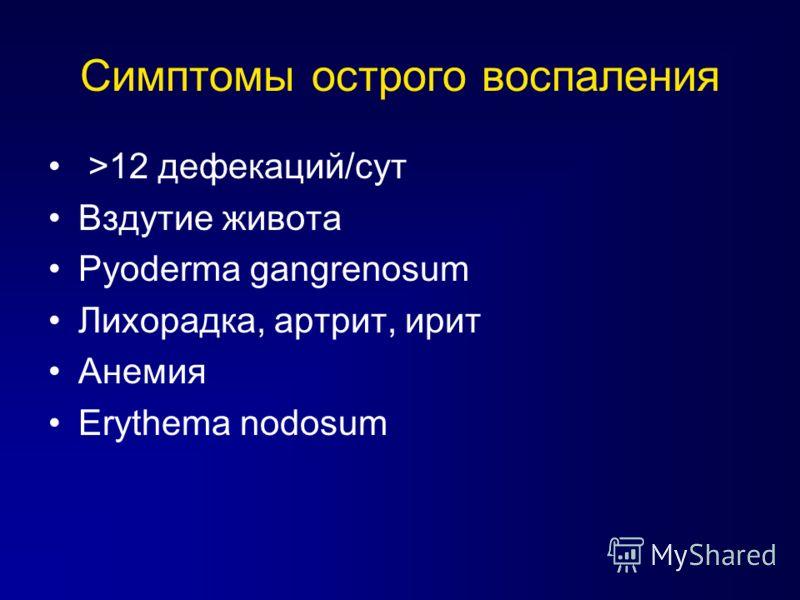Симптомы острого воспаления >12 дефекаций/сут Вздутие живота Pyoderma gangrenosum Лихорадка, артрит, ирит Анемия Erythema nodosum