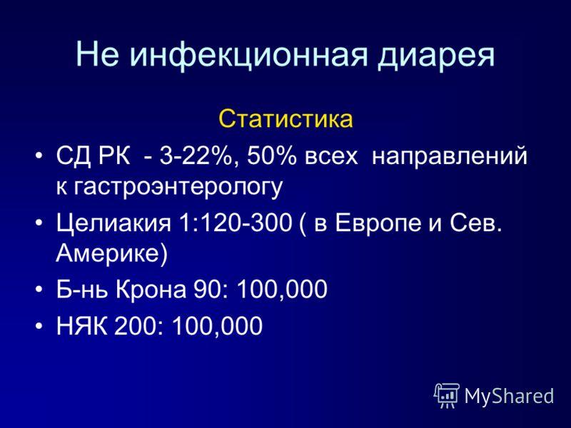Не инфекционная диарея Статистика СД РК - 3-22%, 50% всех направлений к гастроэнтерологу Целиакия 1:120-300 ( в Европе и Сев. Америке) Б-нь Крона 90: 100,000 НЯК 200: 100,000
