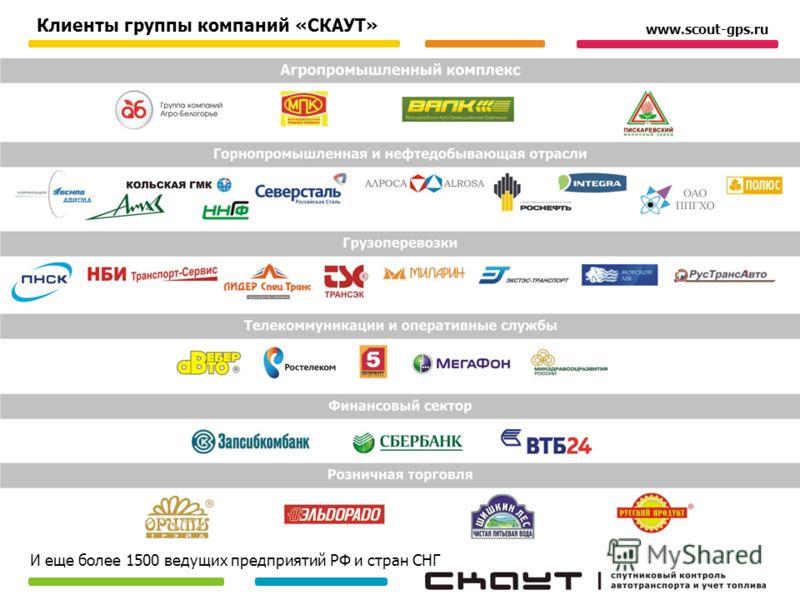 Клиенты группы компаний «СКАУТ» И еще более 1500 ведущих предприятий РФ и стран СНГ www.scout-gps.ru