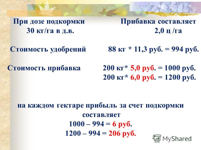 При дозе подкормки Прибавка составляет 30 кг/га в д.в. 2,0 ц /га Стоимость удобрений 88 кг * 11,3 руб. = 994 руб. Стоимость прибавка 200 кг* 5,0 руб. = 1000 руб. 200 кг* 6,0 руб. = 1200 руб. на каждом гектаре прибыль за счет подкормки составляет 1000