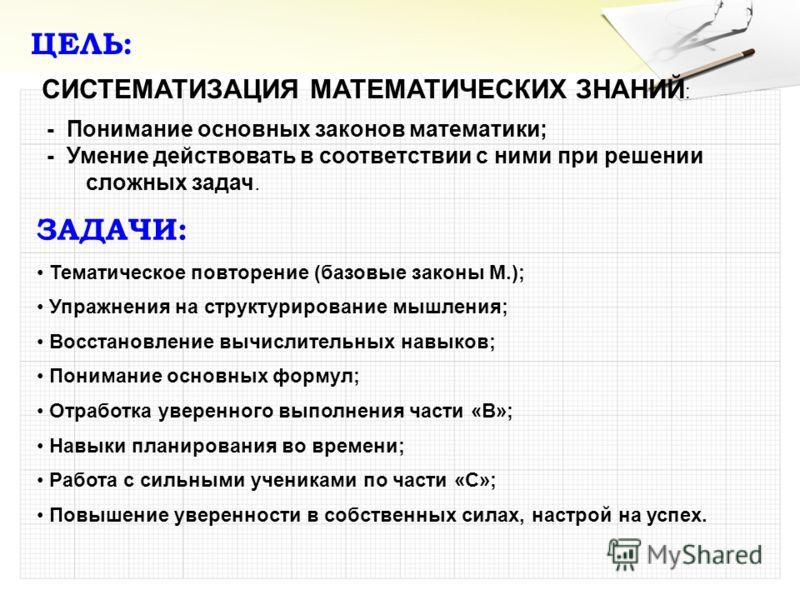 ЦЕЛЬ: СИСТЕМАТИЗАЦИЯ МАТЕМАТИЧЕСКИХ ЗНАНИЙ : - Понимание основных законов математики; - Умение действовать в соответствии с ними при решении сложных задач. ЗАДАЧИ: Тематическое повторение (базовые законы М.); Упражнения на структурирование мышления;