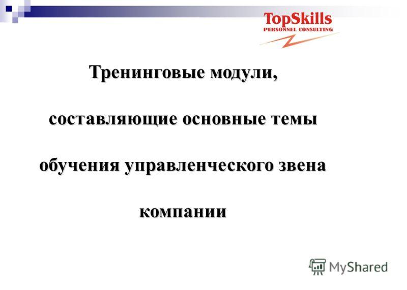 Тренинговые модули, составляющие основные темы обучения управленческого звена компании