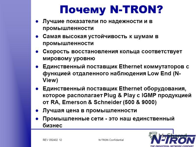 REV 092402 12 N-TRON Confidential Почему N-TRON? l Лучшие показатели по надежности и в промышленности l Самая высокая устойчивость к шумам в промышленности l Скорость восстановления кольца соответствует мировому уровню l Единственный поставщик Ethern
