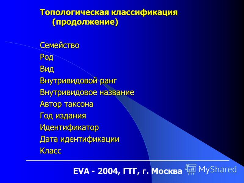 EVA - 2004, ГТГ, г. Москва Топологическая классификация (продолжение) СемействоРодВид Внутривидовой ранг Внутривидовое название Автор таксона Год издания Идентификатор Дата идентификации Класс