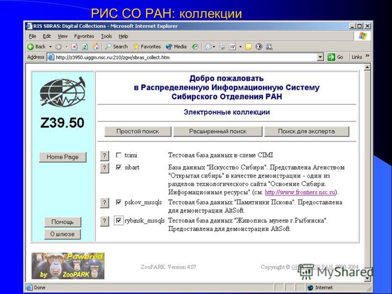 РИС СО РАН: коллекции