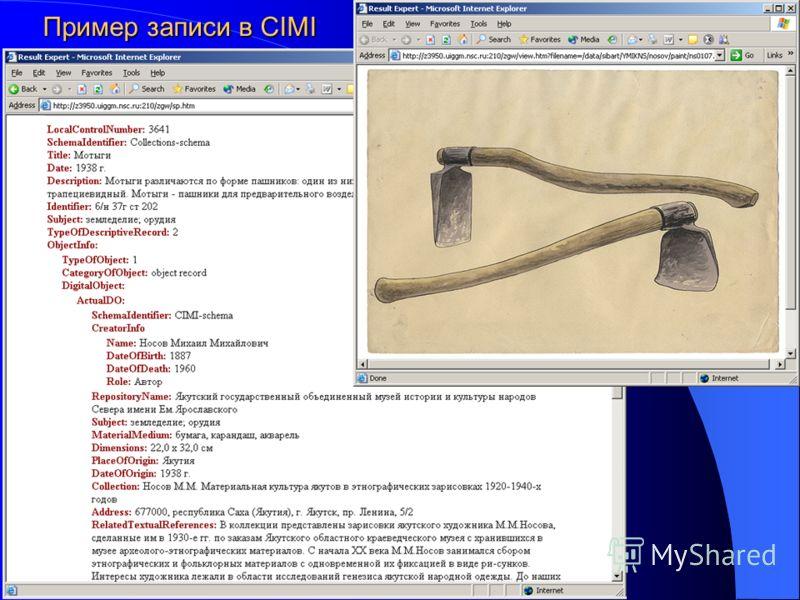 Пример записи в CIMI