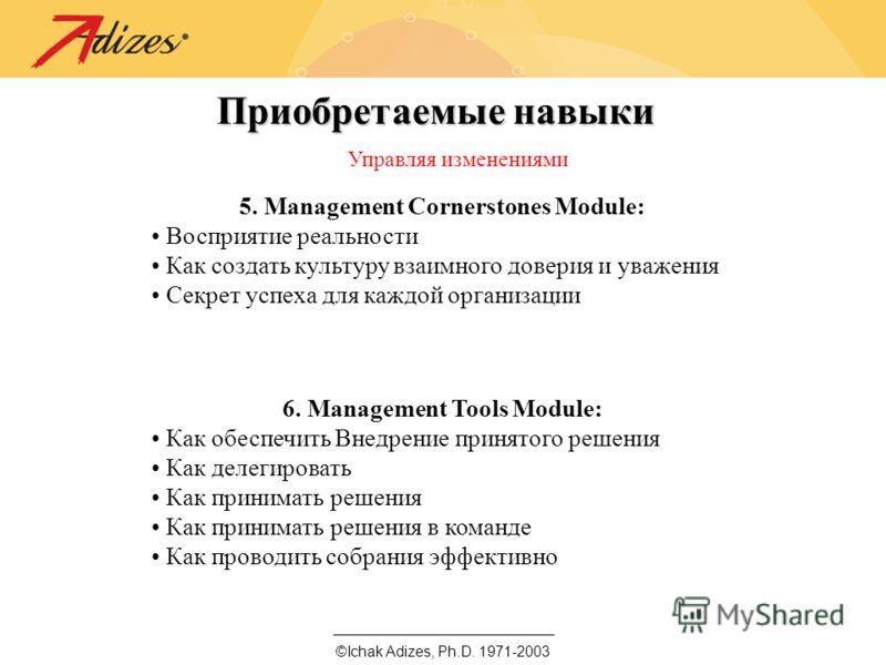 ©Ichak Adizes, Ph.D. 1971-2003 Приобретаемые навыки Управляя изменениями 5. Management Cornerstones Module: Восприятие реальности Как создать культуру взаимного доверия и уважения Секрет успеха для каждой организации 6. Management Tools Module: Как о