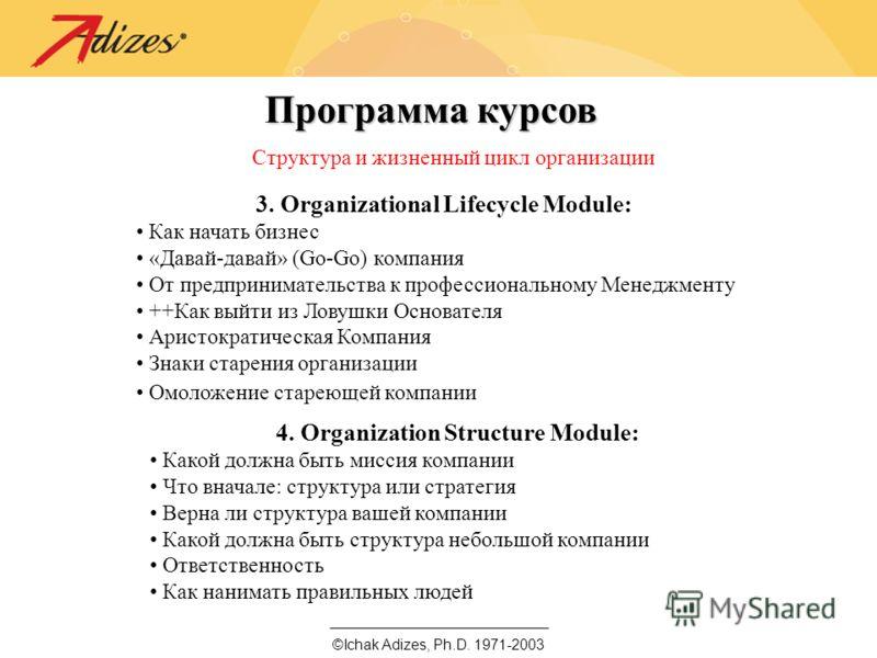 ©Ichak Adizes, Ph.D. 1971-2003 Программа курсов Структура и жизненный цикл организации 3. Organizational Lifecycle Module: Как начать бизнес «Давай-давай» (Go-Go) компания От предпринимательства к профессиональному Менеджменту ++Как выйти из Ловушки