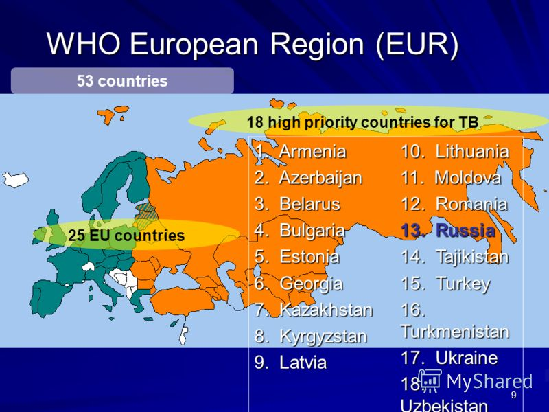 9 WHO European Region (EUR) 25 EU countries 53 countries 18 high priority countries for TB 1. Armenia 2. Azerbaijan 3. Belarus 4. Bulgaria 5. Estonia 6. Georgia 7. Kazakhstan 8. Kyrgyzstan 9. Latvia 10. Lithuania 11. Moldova 12. Romania 13. Russia 14