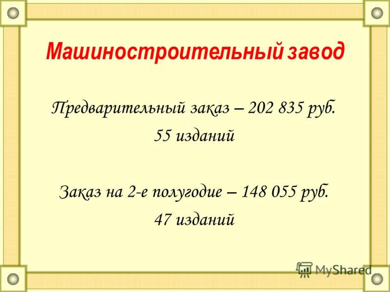 Машиностроительный завод Предварительный заказ – 202 835 руб. 55 изданий Заказ на 2-е полугодие – 148 055 руб. 47 изданий