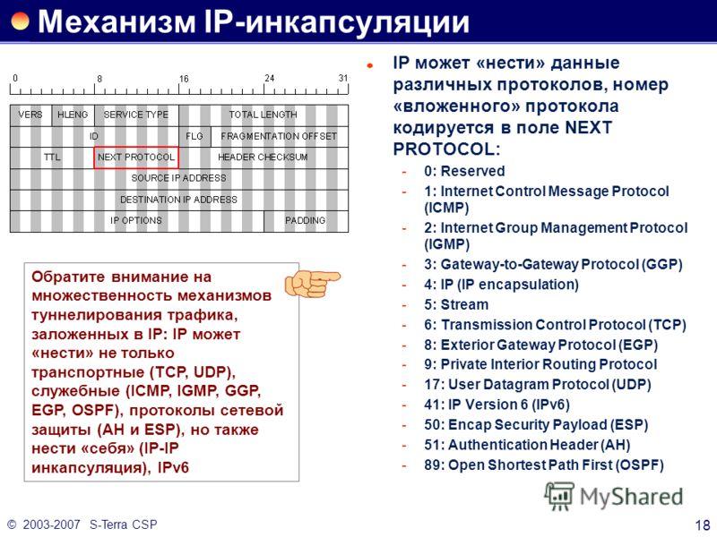 © 2003-2007 S-Terra CSP 18 Механизм IP-инкапсуляции IP может «нести» данные различных протоколов, номер «вложенного» протокола кодируется в поле NEXT PROTOCOL: 0: Reserved 1: Internet Control Message Protocol (ICMP) 2: Internet Group Management Pr