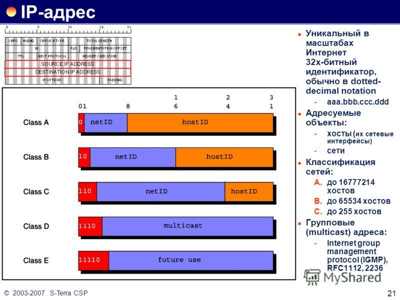 © 2003-2007 S-Terra CSP 21 IP-адрес Уникальный в масштабах Интернет 32х-битный идентификатор, обычно в dotted- decimal notation aaa.bbb.ccc.ddd Адресуемые объекты: хосты ( их сетевые интерфейсы) сети Классификация сетей: A.до 16777214 хостов B.до