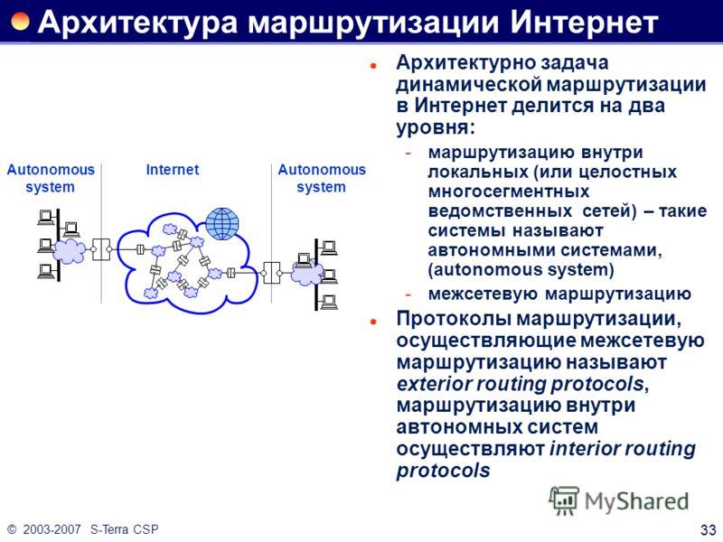 © 2003-2007 S-Terra CSP 33 Архитектура маршрутизации Интернет Архитектурно задача динамической маршрутизации в Интернет делится на два уровня: маршрутизацию внутри локальных (или целостных многосегментных ведомственных сетей) – такие системы называю