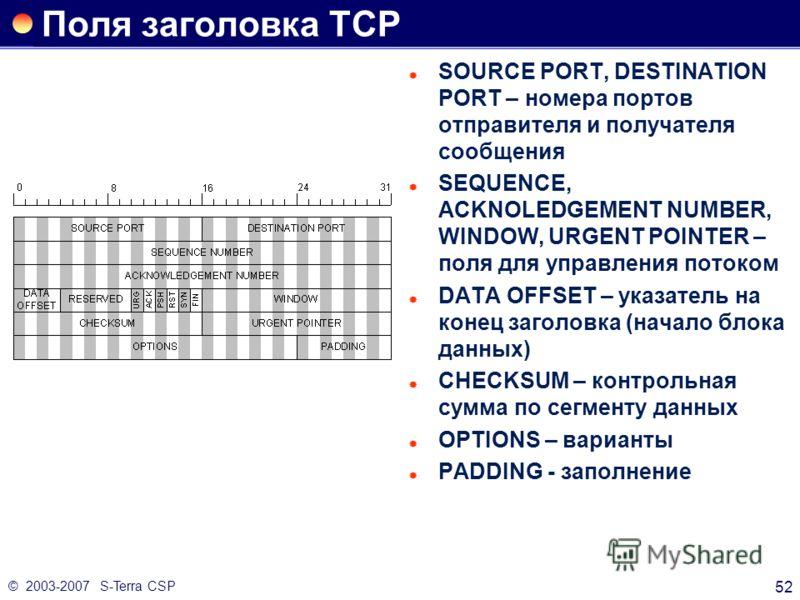 © 2003-2007 S-Terra CSP 52 Поля заголовка TCP SOURCE PORT, DESTINATION PORT – номера портов отправителя и получателя сообщения SEQUENCE, ACKNOLEDGEMENT NUMBER, WINDOW, URGENT POINTER – поля для управления потоком DATA OFFSET – указатель на конец заго