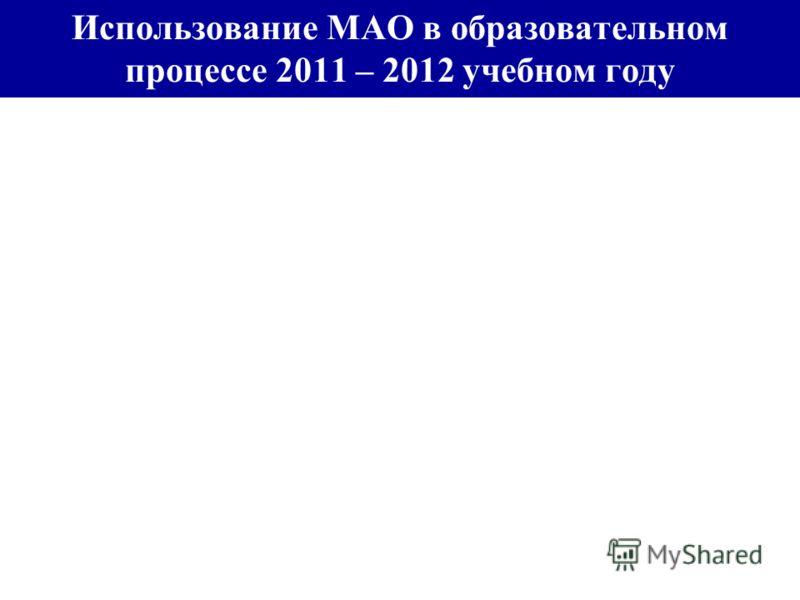 Использование МАО в образовательном процессе 2011 – 2012 учебном году