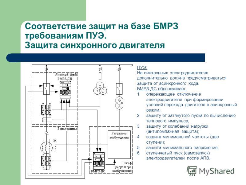 Соответствие защит на базе БМРЗ требованиям ПУЭ. Защита синхронного двигателя ПУЭ: На синхронных электродвигателях дополнительно должна предусматриваться защита от асинхронного хода. БМРЗ-ДС обеспечивает: 1.опережающее отключение электродвигателя при