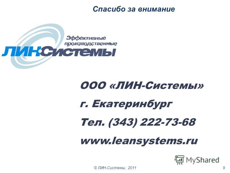 Спасибо за внимание © ЛИН-Системы, 20119 ООО «ЛИН-Системы» г. Екатеринбург Тел. (343) 222-73-68 www.leansystems.ru