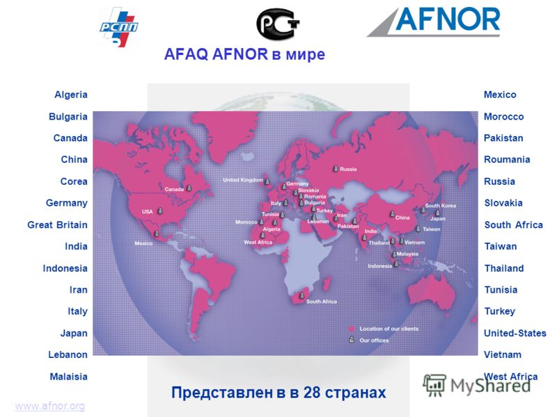 Представлен в в 28 странах Algeria Bulgaria Canada China Corea Germany Great Britain India Indonesia Iran Italy Japan Lebanon Malaisia www.afnor.org Mexico Morocco Pakistan Roumania Russia Slovakia South Africa Taiwan Thailand Tunisia Turkey United-S