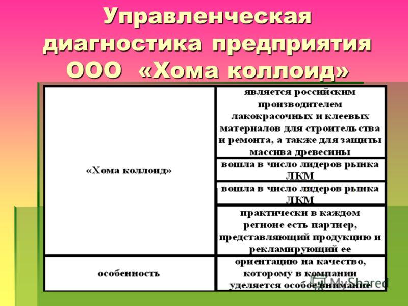 Управленческая диагностика предприятия ООО «Хома коллоид»
