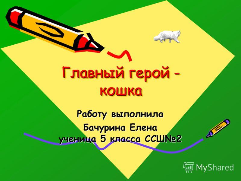 Главный герой - кошка Работу выполнила Бачурина Елена ученица 5 класса ССШ2