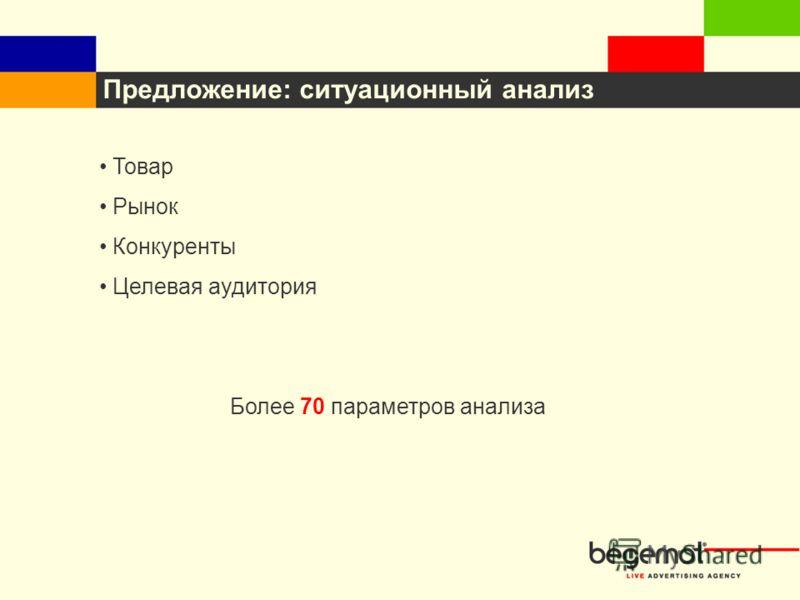Предложение: ситуационный анализ Товар Рынок Конкуренты Целевая аудитория Более 70 параметров анализа