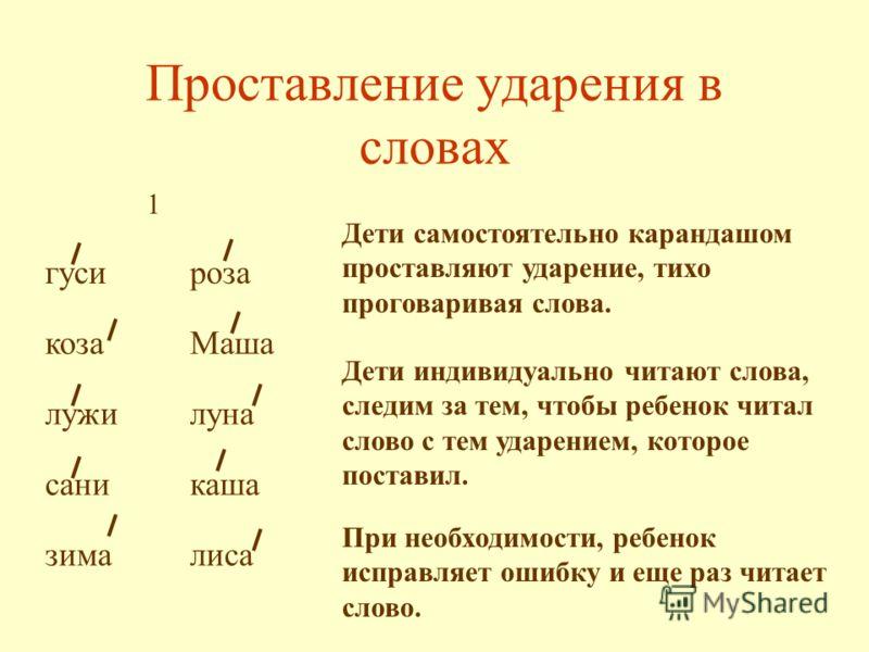 Проставление ударения в словах гусироза козаМаша лужилуна саникаша зималиса Дети самостоятельно карандашом проставляют ударение, тихо проговаривая слова. Дети индивидуально читают слова, следим за тем, чтобы ребенок читал слово с тем ударением, котор