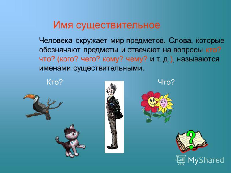 Имя существительное Человека окружает мир предметов. Слова, которые обозначают предметы и отвечают на вопросы кто? что? (кого? чего? кому? чему? и т. д.), называются именами существительными. Кто?Что?