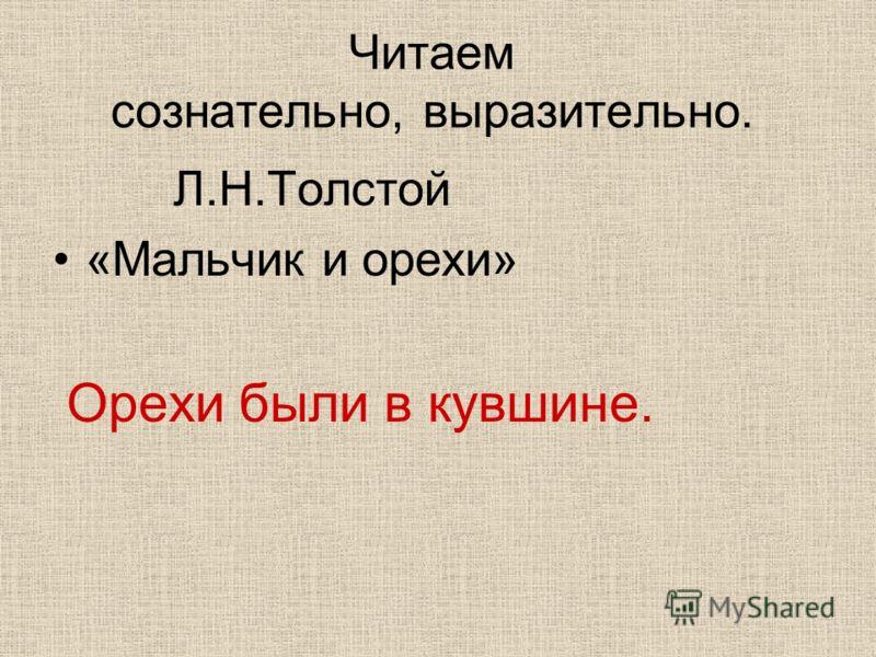 Читаем сознательно, выразительно. Л.Н.Толстой «Мальчик и орехи» Орехи были в кувшине.