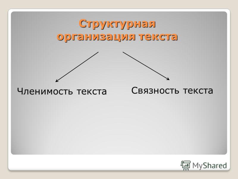 Структурная организация текста Членимость текста Связность текста