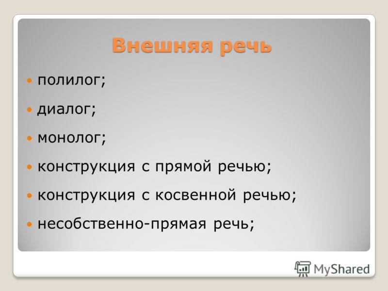 Внешняя речь полилог; диалог; монолог; конструкция с прямой речью; конструкция с косвенной речью; несобственно-прямая речь;