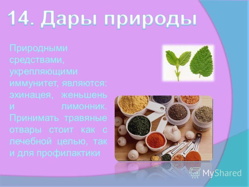 Природными средствами, укрепляющими иммунитет, являются: эхинацея, женьшень и лимонник. Принимать травяные отвары стоит как с лечебной целью, так и для профилактики