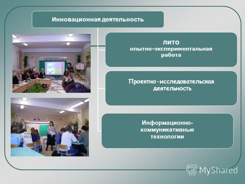 Инновационная деятельность Информационно- коммуникативные технологии Проектно-исследовательская деятельность ЛИТО опытно-экспериментальная работа