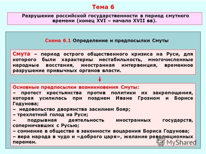 Тема 6 Разрушение российской государственности в период смутного времени (конец XVI – начало XVII вв). Схема 6.1 Определение и предпосылки Смуты Смута – период острого общественного кризиса на Руси, для которого были характерны нестабильность, многоч