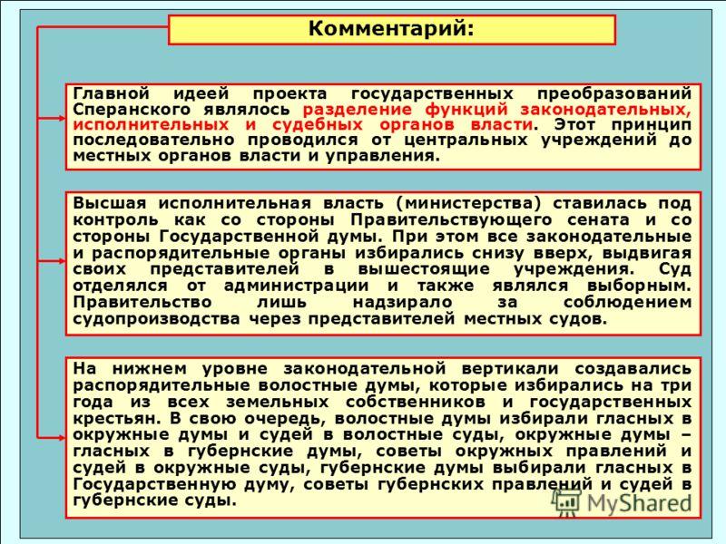 Главной идеей проекта государственных преобразований Сперанского являлось разделение функций законодательных, исполнительных и судебных органов власти. Этот принцип последовательно проводился от центральных учреждений до местных органов власти и упра