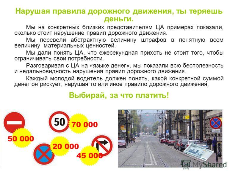 Мы на конкретных близких представителям ЦА примерах показали, сколько стоит нарушение правил дорожного движения. Мы перевели абстрактную величину штрафов в понятную всем величину материальных ценностей. Мы дали понять ЦА, что ежесекундная прихоть не