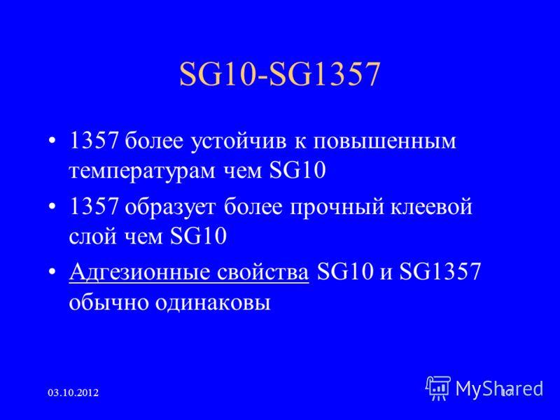29.07.201217 SG10-SG1357 1357 более устойчив к повышенным температурам чем SG10 1357 образует более прочный клеевой слой чем SG10 Адгезионные свойства SG10 и SG1357 обычно одинаковы