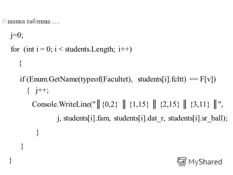 // шапка таблицы….. j=0; for (int i = 0; i < students.Length; i++) { if (Enum.GetName(typeof(Facultet), students[i].fcltt) == F[v]) { j++; Console.WriteLine({0,2} {1,15} {2,15} {3,11} , j, students[i].fam, students[i].dat_r, students[i].sr_ball); }