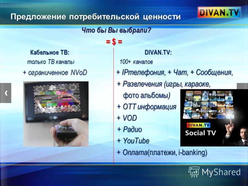Предложение потребительской ценности Что бы Вы выбрали? Что бы Вы выбрали? = $ = = $ = Кабельное ТВ: DIVAN.TV: Кабельное ТВ: DIVAN.TV: только ТВ каналы 100+ каналов только ТВ каналы 100+ каналов + ограниченное NVoD + IPтелефония, + Чат, + Сообщения,