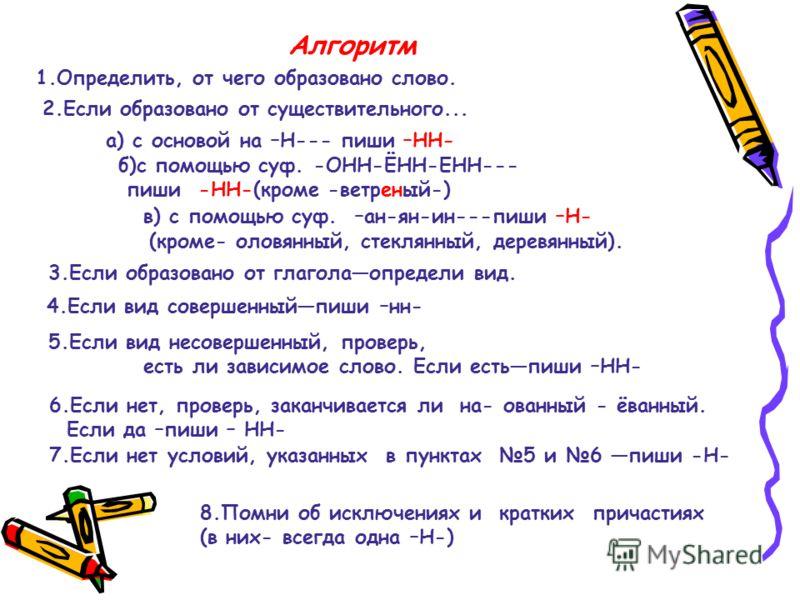 Алгоритм 1.Определить, от чего образовано слово. 2.Если образовано от существительного... а) с основой на –Н--- пиши –НН- б)с помощью суф. -ОНН-ЁНН-ЕНН--- пиши -НН-(кроме -ветреный-) в) с помощью суф. –ан-ян-ин---пиши –Н- (кроме- оловянный, стеклянны