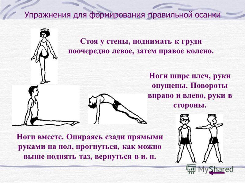 Упражнения для формирования правильной осанки Стоя у стены, поднимать к груди поочередно левое, затем правое колено. Ноги шире плеч, руки опущены. Повороты вправо и влево, руки в стороны. Ноги вместе. Опираясь сзади прямыми руками на пол, прогнуться,