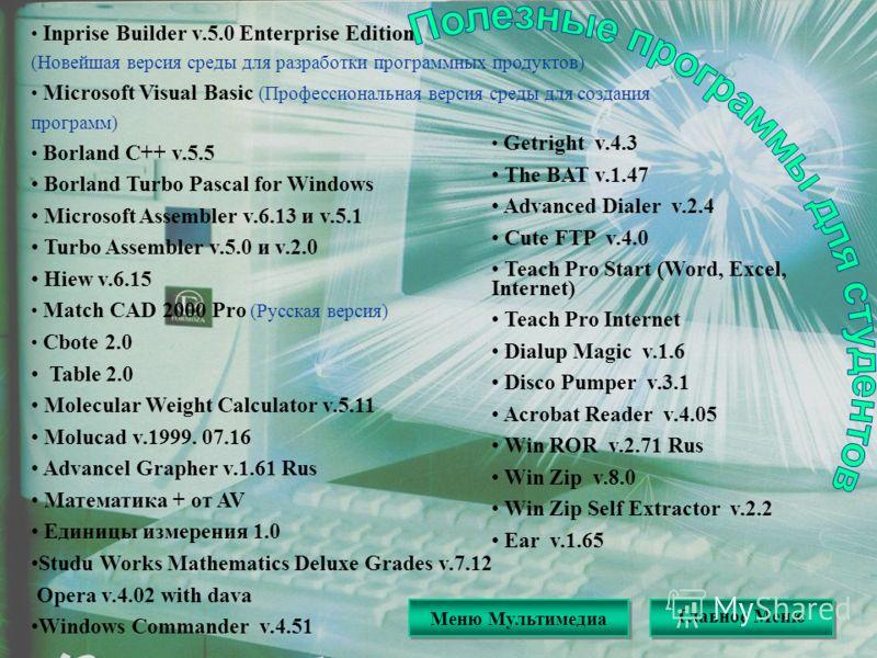 Полезные программы для студентов Inprise Builder v.5.0 Enterprise Edition (Новейшая версия среды для разработки программных продуктов) Microsoft Visual Basic (Профессиональная версия среды для создания программ) Borland C++ v.5.5 Borland Turbo Pascal