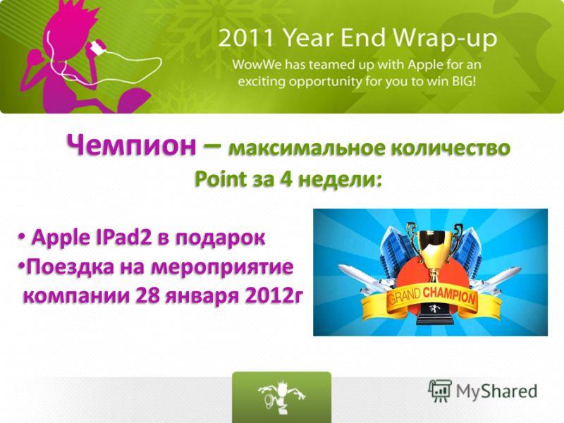 Чемпион – максимальное количество Point за 4 недели: Apple IPad2 в подарок Поездка на мероприятие компании 28 января 2012г Чемпион – максимальное количество Point за 4 недели: Apple IPad2 в подарок Поездка на мероприятие компании 28 января 2012г