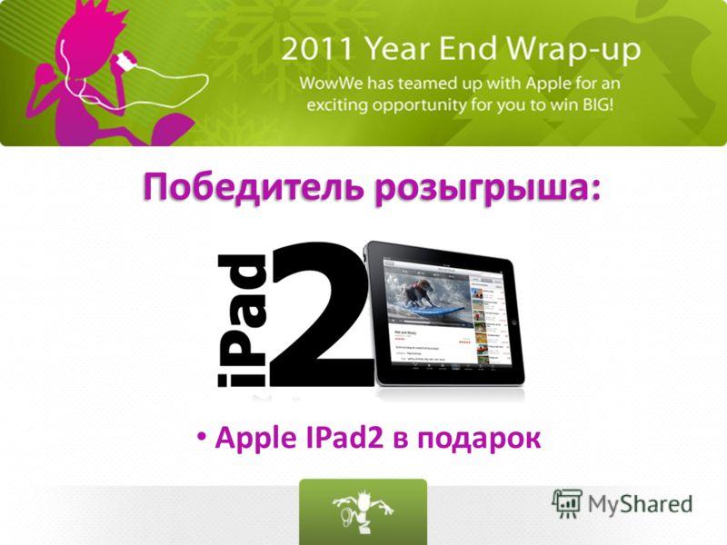 Победитель розыгрыша: Apple IPad2 в подарок