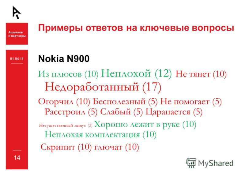14 Примеры ответов на ключевые вопросы Nokia N900 Из плюсов (10) Неплохой (12) Не тянет (10) Недоработанный (17) Огорчил (10) Бесполезный (5) Не помогает (5) Расстроил (5) Слабый (5) Царапается (5) Несущественный минус (2) Хорошо лежит в руке (10) Не